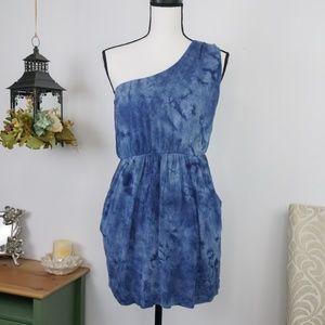 Forever 21 One Shoulder Dress Blue Tie Dye Large